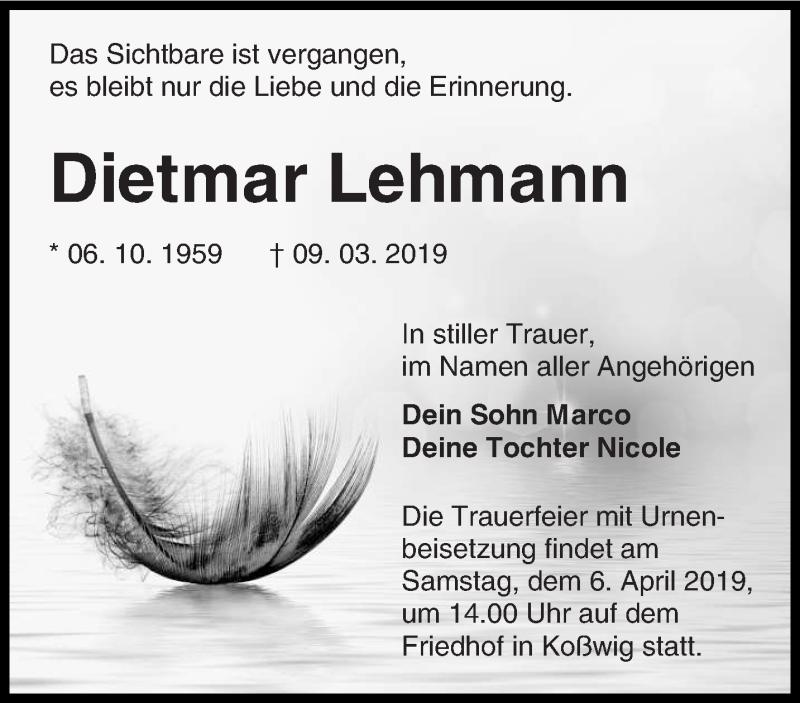 Traueranzeige für Dietmar Lehmann vom 16.03.2019 aus lausitzer_rundschau
