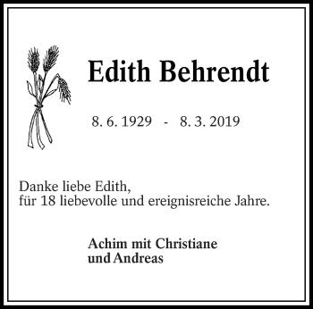 Traueranzeige für Edith Behrendt vom 18.03.2019 aus lausitzer_rundschau