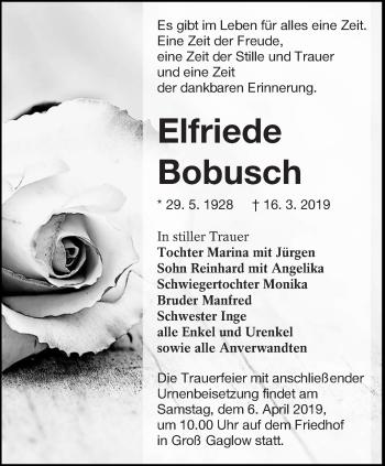 Traueranzeige für Elfriede Bobusch vom 30.03.2019 aus lausitzer_rundschau