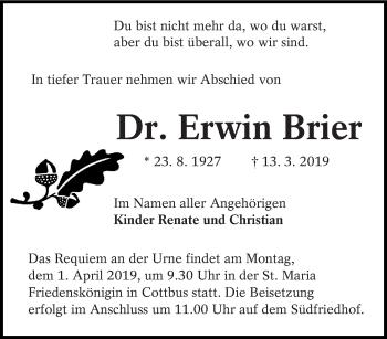 Traueranzeige für Erwin Brier vom 23.03.2019 aus lausitzer_rundschau