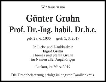Traueranzeige für Günter Gruhn vom 06.03.2019 aus lausitzer_rundschau