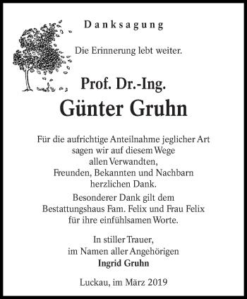 Traueranzeige für Günter Gruhn vom 30.03.2019 aus lausitzer_rundschau
