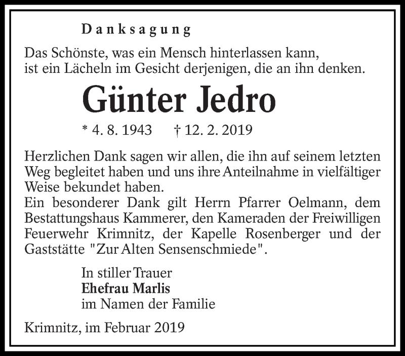 Traueranzeige für Günter Jedro vom 09.03.2019 aus lausitzer_rundschau