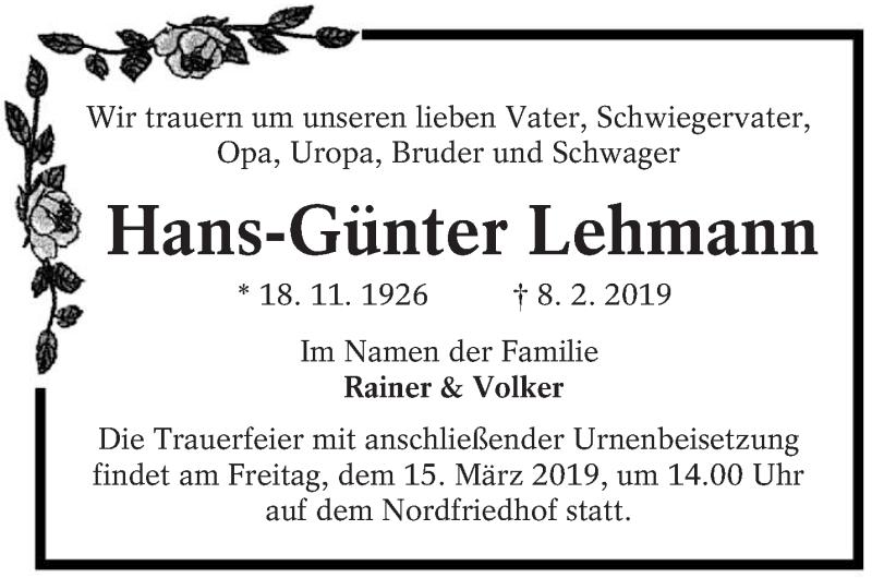 Traueranzeige für Hans-Günter Lehmann vom 09.03.2019 aus lausitzer_rundschau