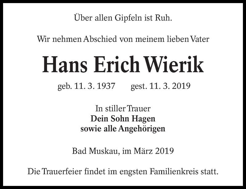 Traueranzeige für Hans Erich Wierik vom 15.03.2019 aus lausitzer_rundschau