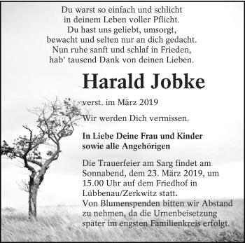 Traueranzeige für Harald Jobke vom 19.03.2019 aus lausitzer_rundschau