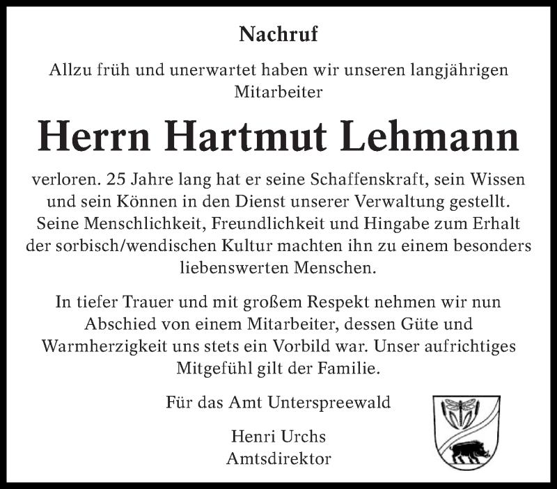 Traueranzeige für Hartmut Lehmann vom 09.03.2019 aus lausitzer_rundschau