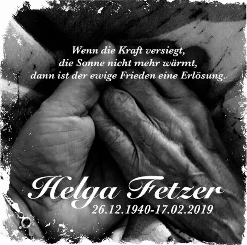 Traueranzeige für Helga Fetzer vom 15.03.2019 aus lausitzer_rundschau