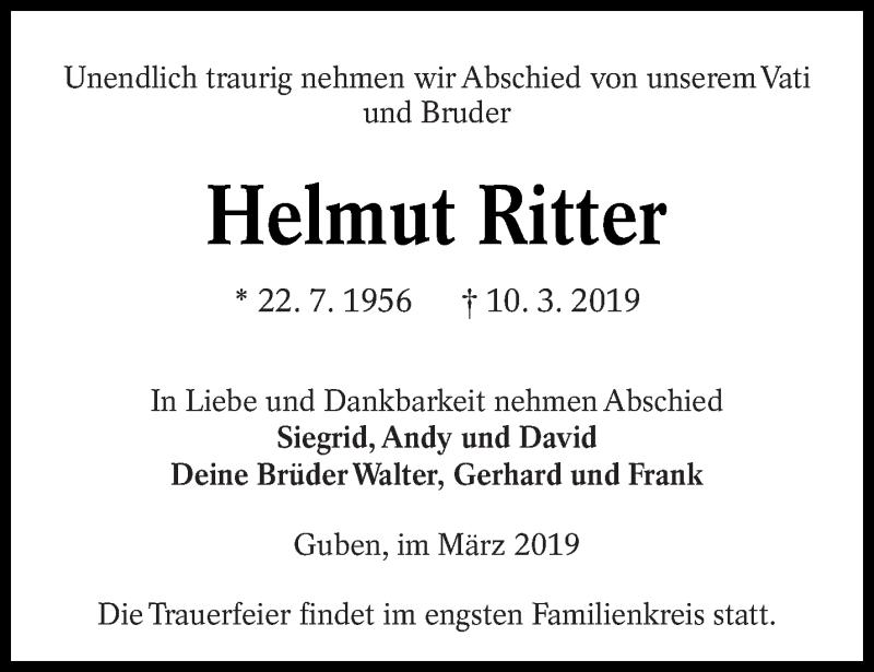 Traueranzeige für Helmut Ritter vom 15.03.2019 aus lausitzer_rundschau