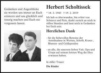 Traueranzeige für Herbert Scholtissek vom 14.03.2019 aus lausitzer_rundschau