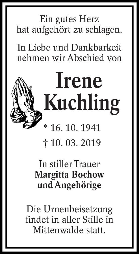 Traueranzeige für Irene Kuchling vom 16.03.2019 aus lausitzer_rundschau
