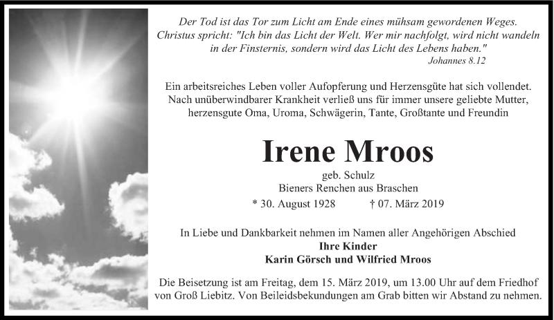 Traueranzeige für Irene Mroos vom 12.03.2019 aus lausitzer_rundschau