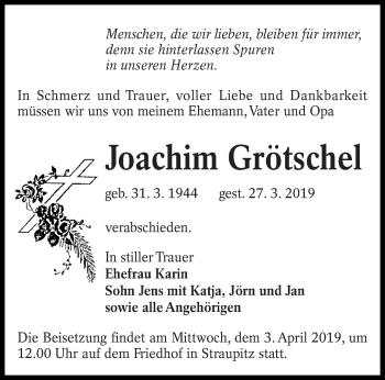 Traueranzeige für Joachim Grötschel vom 30.03.2019 aus lausitzer_rundschau