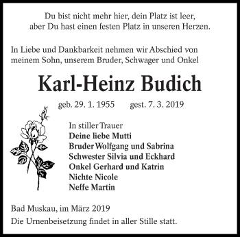 Traueranzeige für Karl-Heinz Budich vom 15.03.2019 aus lausitzer_rundschau