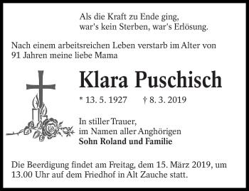 Traueranzeige für Klara Puschisch vom 12.03.2019 aus lausitzer_rundschau
