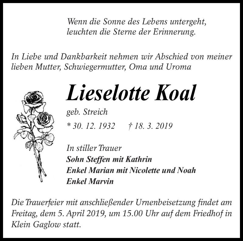 Traueranzeige für Lieselotte Koal vom 30.03.2019 aus lausitzer_rundschau