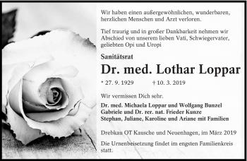 Traueranzeige für Lothar Loppar vom 16.03.2019 aus lausitzer_rundschau