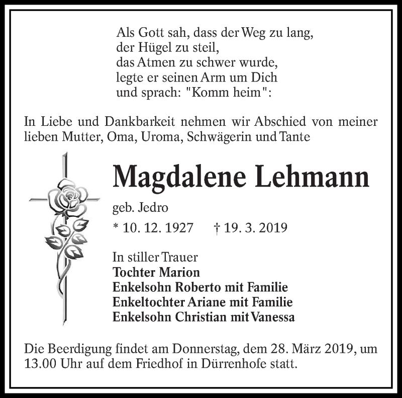 Traueranzeige für Magdalene Lehmann vom 23.03.2019 aus lausitzer_rundschau