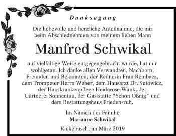 Traueranzeige für Manfred Schwikal vom 16.03.2019 aus lausitzer_rundschau