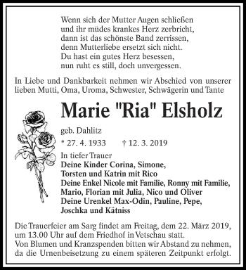 Traueranzeige für Marie Elsholz vom 16.03.2019 aus lausitzer_rundschau