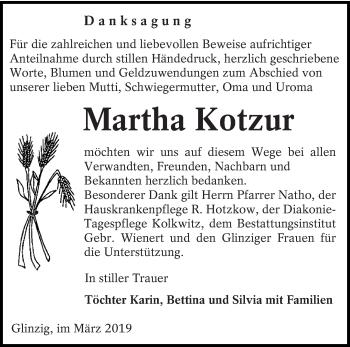 Traueranzeige für Martha Kotzur vom 16.03.2019 aus lausitzer_rundschau