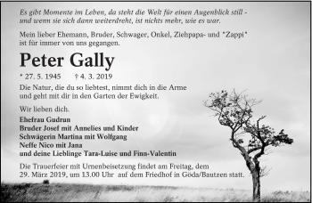 Traueranzeige für Peter Gally vom 16.03.2019 aus lausitzer_rundschau