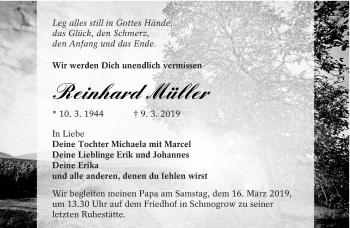 Traueranzeige für Reinhard Müller vom 13.03.2019 aus lausitzer_rundschau