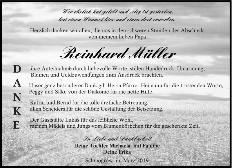 Traueranzeige für Reinhard Müller vom 30.03.2019 aus lausitzer_rundschau