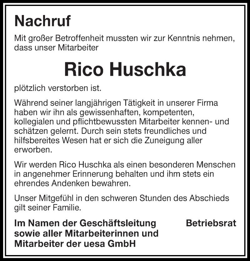 Traueranzeige für Rico Huschka vom 15.03.2019 aus lausitzer_rundschau