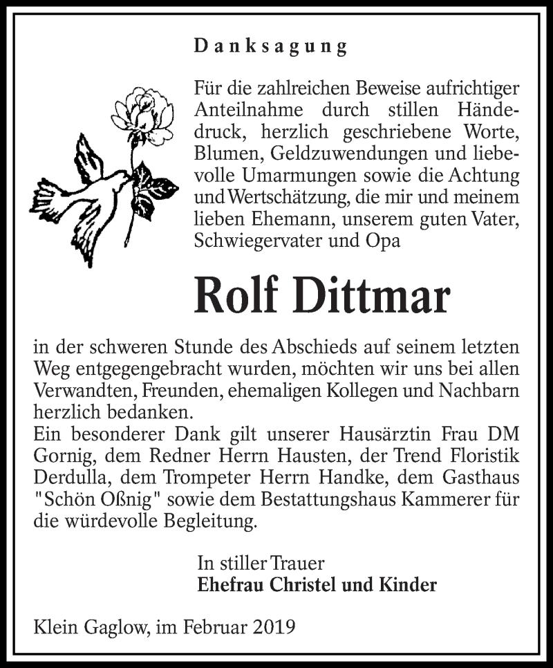 Traueranzeige für Rolf Dittmar vom 02.03.2019 aus lausitzer_rundschau