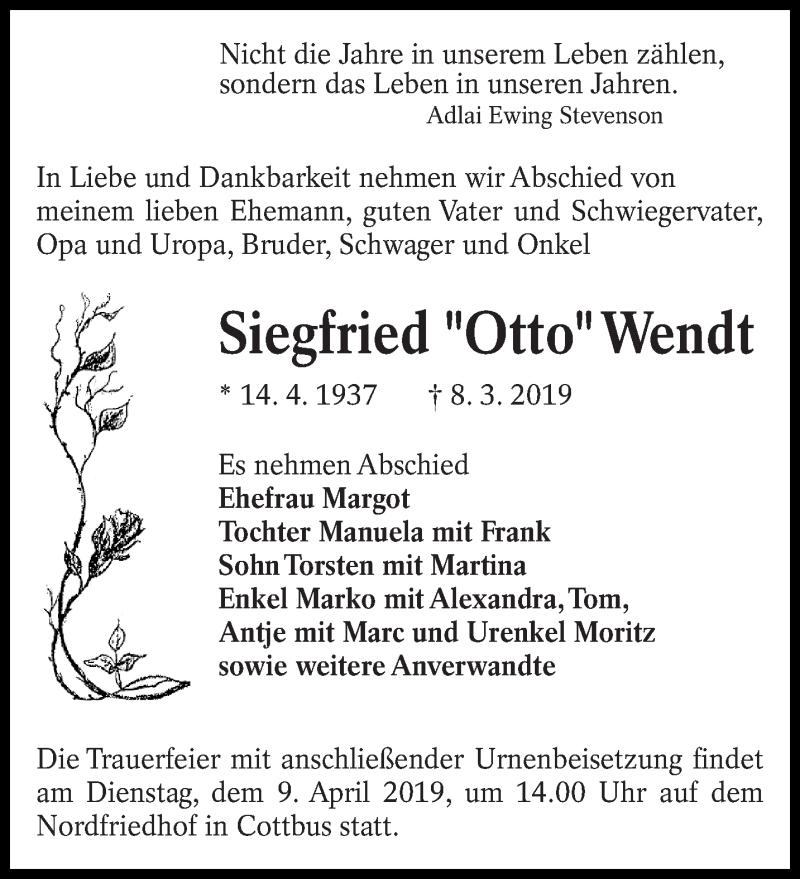 Traueranzeige für Siegfried Wendt vom 23.03.2019 aus lausitzer_rundschau