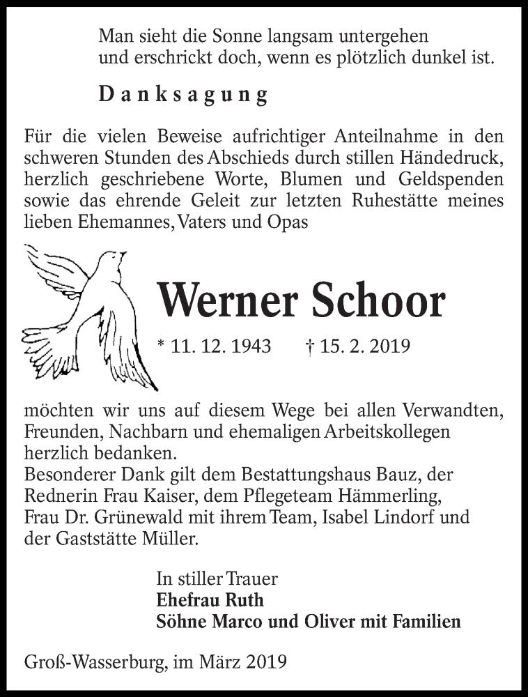 Traueranzeige für Werner Schoor vom 16.03.2019 aus lausitzer_rundschau