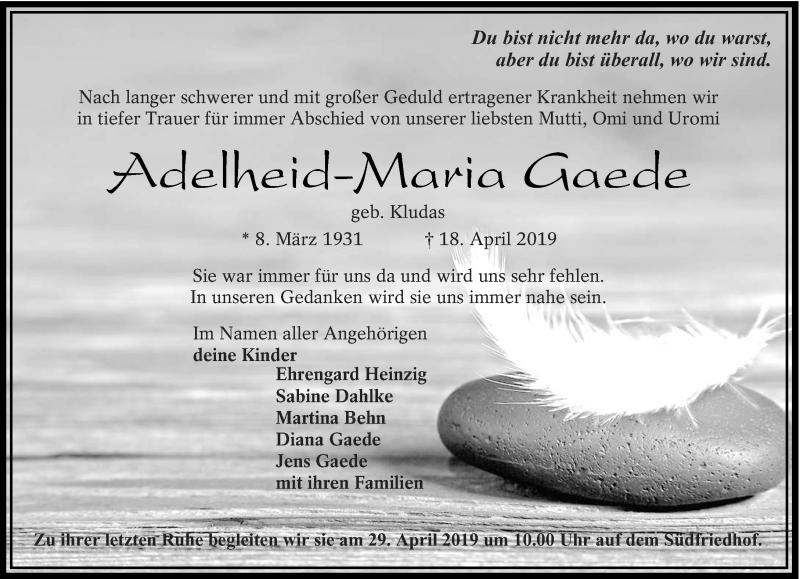 Traueranzeige für Adelheid-Maria Gaede vom 25.04.2019 aus lausitzer_rundschau