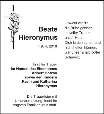 Traueranzeige für Beate Hieronymus vom 20.04.2019 aus lausitzer_rundschau