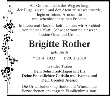 Traueranzeige für Brigitte Rother vom 09.04.2019 aus lausitzer_rundschau