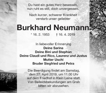 Traueranzeige für Burkhard Neumann vom 20.04.2019 aus lausitzer_rundschau