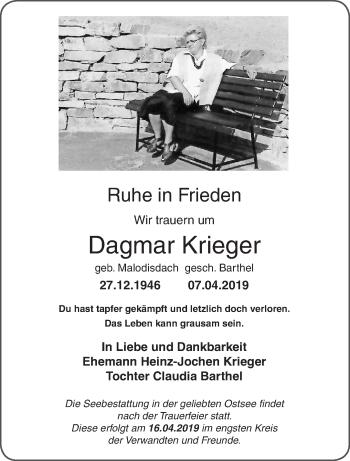 Traueranzeige für Dagmar Krieger vom 13.04.2019 aus lausitzer_rundschau