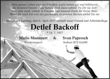 Traueranzeige für Detlef Backoff vom 20.04.2019 aus lausitzer_rundschau