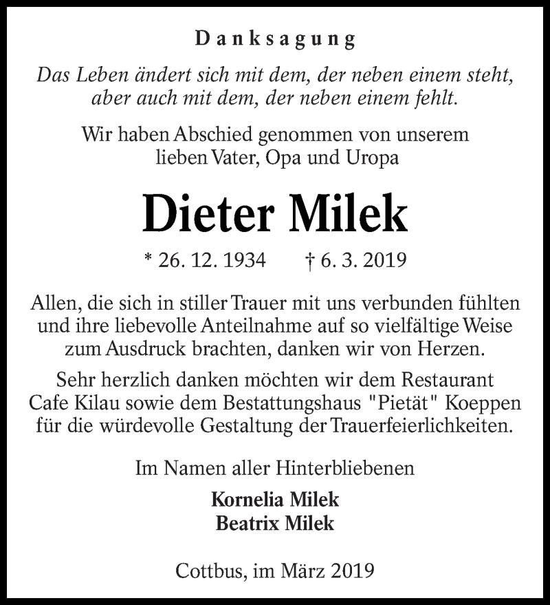 Traueranzeige für Dieter Milek vom 06.04.2019 aus lausitzer_rundschau