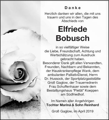 Traueranzeige für Elfriede Bobusch vom 20.04.2019 aus lausitzer_rundschau