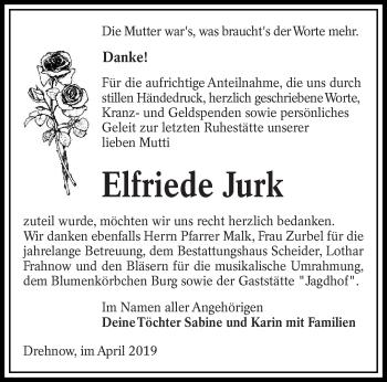 Traueranzeige für Elfriede Jurk vom 06.04.2019 aus lausitzer_rundschau