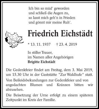 Traueranzeige für Friedrich Eichstädt vom 27.04.2019 aus lausitzer_rundschau