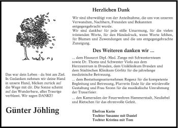 Traueranzeige für Günter Jöhling vom 06.04.2019 aus lausitzer_rundschau