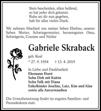 Traueranzeige für Gabriele Skraback vom 20.04.2019 aus lausitzer_rundschau