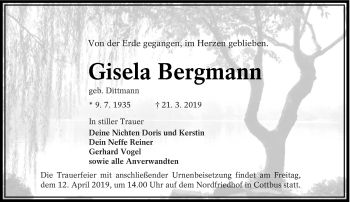 Traueranzeige für Gisela Bergmann vom 06.04.2019 aus lausitzer_rundschau