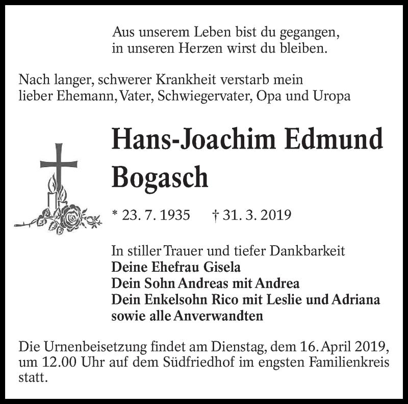 Traueranzeige für Hans-Joachim Edmund vom 06.04.2019 aus lausitzer_rundschau