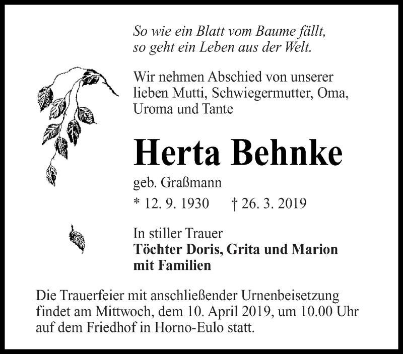 Traueranzeige für Herta Behnke vom 06.04.2019 aus lausitzer_rundschau