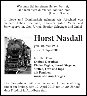 Traueranzeige für Horst Nasdall vom 06.04.2019 aus lausitzer_rundschau