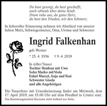 Traueranzeige für Ingrid Falkenhan vom 13.04.2019 aus lausitzer_rundschau