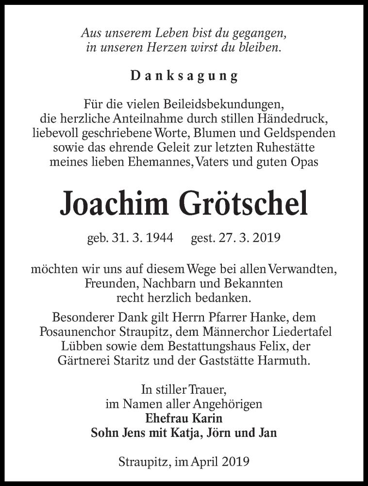 Traueranzeige für Joachim Grötschel vom 13.04.2019 aus lausitzer_rundschau